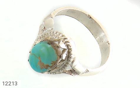 انگشتر نقره فیروزه نیشابوری صاف و زیبا دست ساز - 12213
