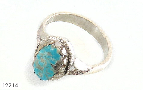 انگشتر نقره فیروزه نیشابوری زیبا طرح دورچنگ دست ساز - 12214