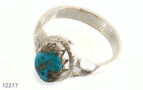 انگشتر نقره فیروزه نیشابوری خوش طبع طرح دورچنگ دست ساز - 12217