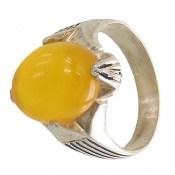 انگشتر نقره عقیق زرد شرف الشمس چهارچنگ مردانه