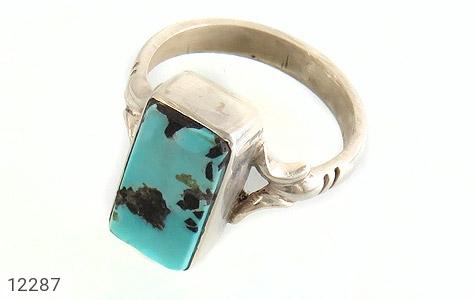 انگشتر نقره فیروزه نیشابوری خوش رنگ طرح کلاسیک دست ساز - 12287