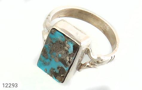 انگشتر نقره فیروزه نیشابوری چهارگوش هنردست دست ساز - 12293