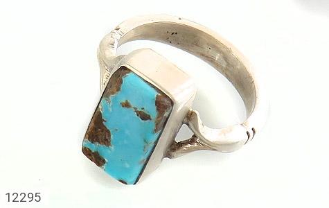 انگشتر نقره فیروزه نیشابوری خوش رنگ چهارگوش دست ساز - 12295
