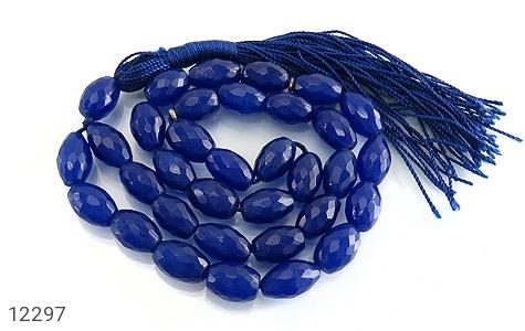 تسبیح جید 33 دانه آبی هلی تراش - 12297