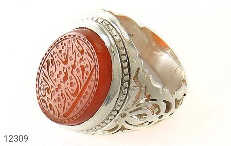 انگشتر نقره عقیق یمن حکاکی اللهم الرزقنی شفاعة الحسین یوم الورود مردانه - 12309