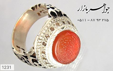 عکس انگشتر نقره عقیق یمن حکاکی ومن یتق الله دور الماس مردانه