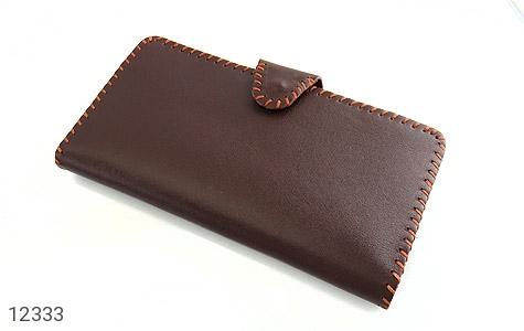 کیف چرم طبیعی تیره دست دوز اسپرت دکمه ای دست ساز - 12333
