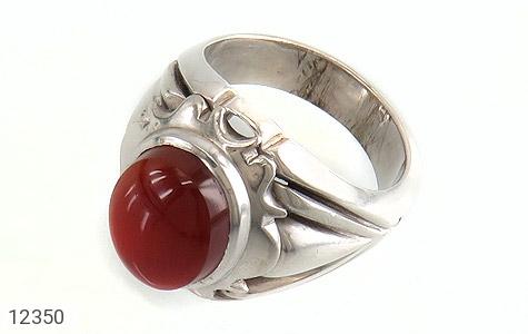 انگشتر نقره عقیق یمن قرمز خوش رنگ مردانه - 12350
