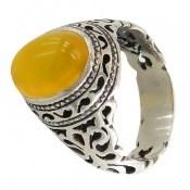انگشتر عقیق زرد شرف الشمس طرح شبکه مردانه