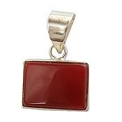 مدال نقره عقیق قرمز مستطیلی دست ساز