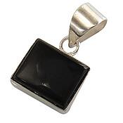 مدال نقره عقیق سیاه چهارگوش