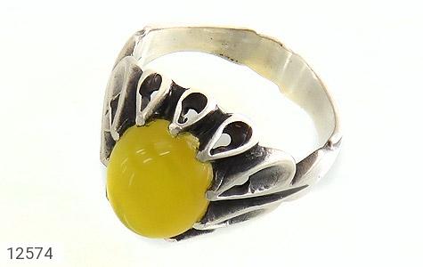 عکس انگشتر عقیق زرد شرف الشمس رکاب اشکی مردانه