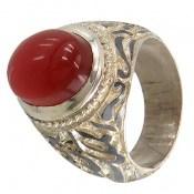 انگشتر نقره عقیق یمن قرمز قلم زنی فاخر مردانه