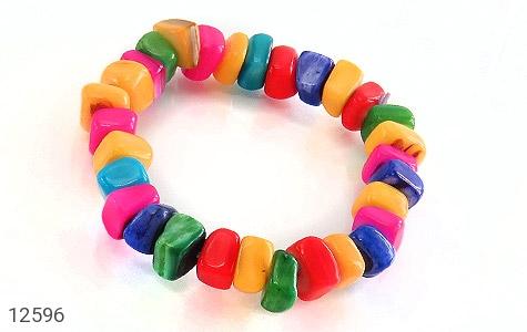 عکس دستبند صدف رنگارنگ خوش تراش زنانه