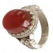 انگشتر نقره عقیق سرخ یمنی برجسته و خوش رنگ مردانه