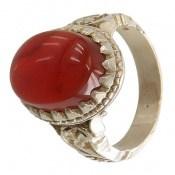 انگشتر نقره عقیق یمن سرخ درشت و خوش رنگ مردانه