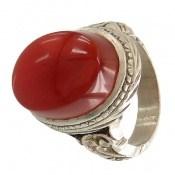 انگشتر نقره عقیق یمن سرخ خوش رنگ و شاهانه مردانه