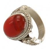 انگشتر نقره عقیق یمنی سرخ خوش رنگ طرح سنتی مردانه