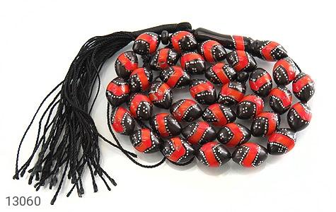 عکس تسبیح نقره کوک (کشکول) مرصع 33 دانه درشت و خوش رنگ
