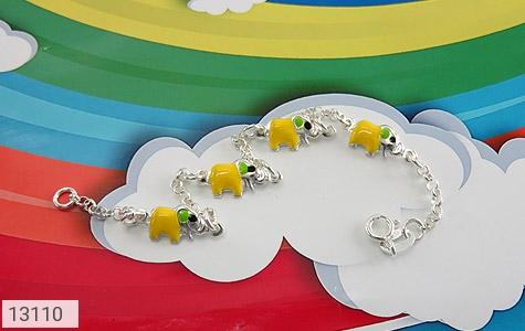 تصویر دستبند نقره میناکاری طرح فیل بچه گانه - شماره 1