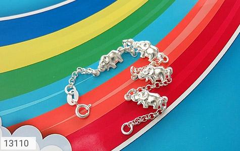 تصویر دستبند نقره میناکاری طرح فیل بچه گانه - شماره 2