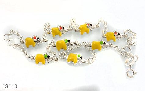 تصویر دستبند نقره میناکاری طرح فیل بچه گانه - شماره 4