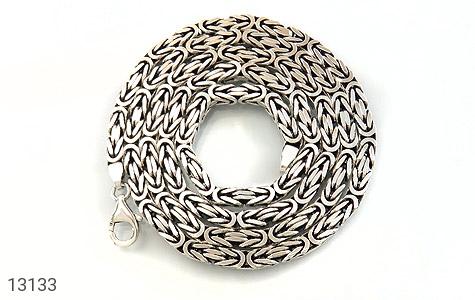 عکس زنجیر نقره درشت طرح ماری 66 سانتی