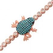 دستبند نقره پرنگین فانتزی طرح قورباغه زنانه