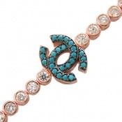 دستبند نقره آسانسوری رزگلد طرح chanel زنانه