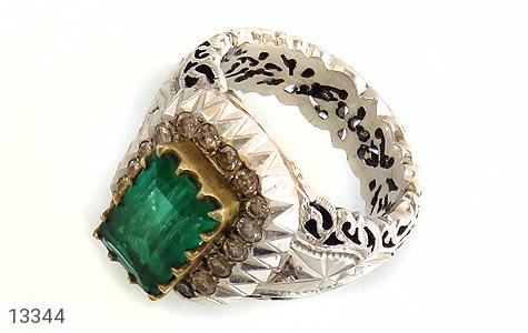 انگشتر نقره الماس زمرد پنجشیر افغانستان نایاب و اعلاء و سلطنتی مردانه دست ساز - 13344