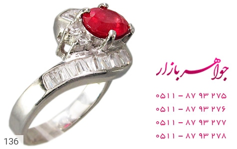 عکس انگشتر یاقوت سرخ طرح پیچ زنانه