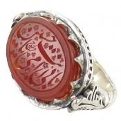 انگشتر نقره عقیق یمن خوش رنگ حکاکی فاخر بابی انت و امی مردانه