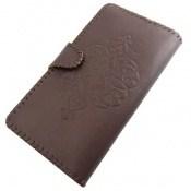 کیف چرم طبیعی دست دوز دکمهای طرحدار