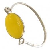 دستبند عقیق زرد درشت دست ساز