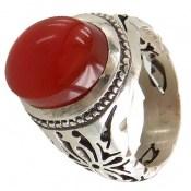 انگشتر نقره عقیق قرمز یمن درشت برجسته مردانه