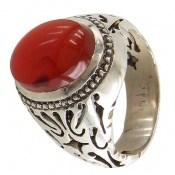 انگشتر عقیق یمن قرمز خوش رنگ مردانه