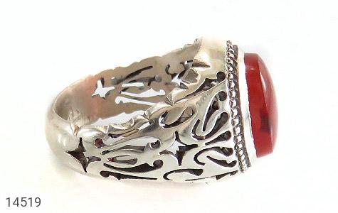 عکس انگشتر عقیق یمن قرمز خوش رنگ مردانه - شماره 3