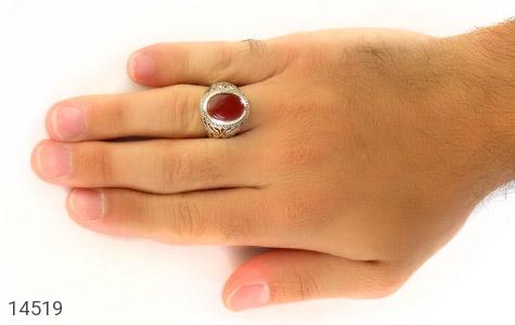 تصویر انگشتر عقیق یمن قرمز خوش رنگ مردانه - شماره 7