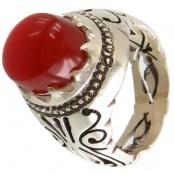 انگشتر عقیق یمن قرمز خوش رنگ درشت برجسته مردانه