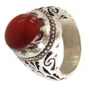 انگشتر نقره عقیق قرمر خوش رنگ یمن مردانه