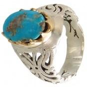 انگشتر نقره فیروزه نیشابوری درشت شجری مردانه
