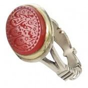 انگشتر نقره عقیق سرخ یمن ومن یتق الله مردانه