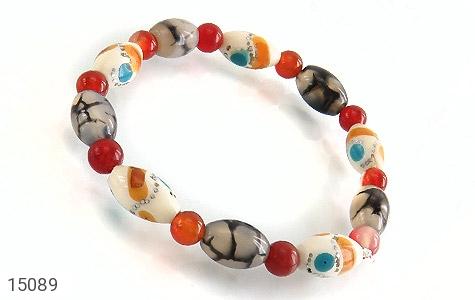 تصویر دستبند استخوان و عقیق شجر زیبا زنانه - شماره 1