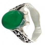 انگشتر نقره عقیق سبز رکاب یاحسین یاعباس مردانه