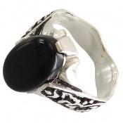 انگشتر نقره عقیق سیاه رکاب یاحسین و یاعباس مردانه
