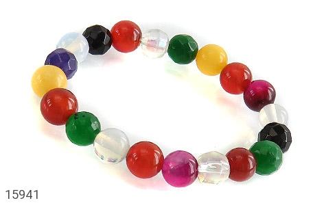 عکس دستبند عقیق و جید رنگارنگ زنانه