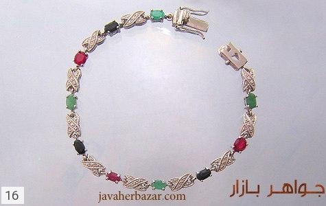 دستبند نقره زمرد و یاقوت آب رودیوم زنانه - 16