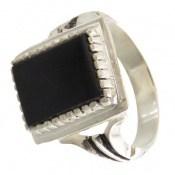 انگشتر نقره عقیق سیاه طرح سهیل مردانه