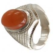 انگشتر نقره عقیق یمن پرتقالی خوش رنگ مردانه