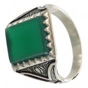انگشتر عقیق سبز طرح پاشا مردانه